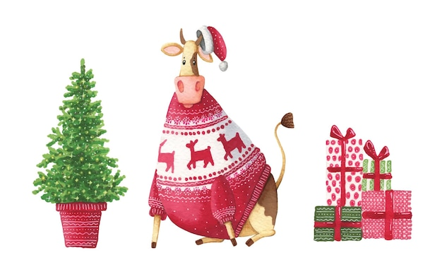 Watercolor cow in a sweater, christmas tree and gifts.