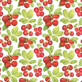 Акварель брусники бесшовные модели. ручной обращается ветви с красными ягодами и листьями