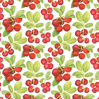 Watercolor cowberry seamless pattern. hand drawn branches with red berries and leaves