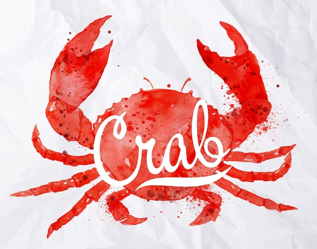 Watercolor crab with lettering crab