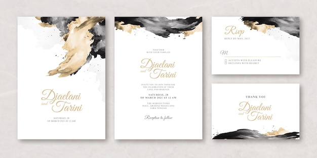 Watercolor creamy wedding card set template