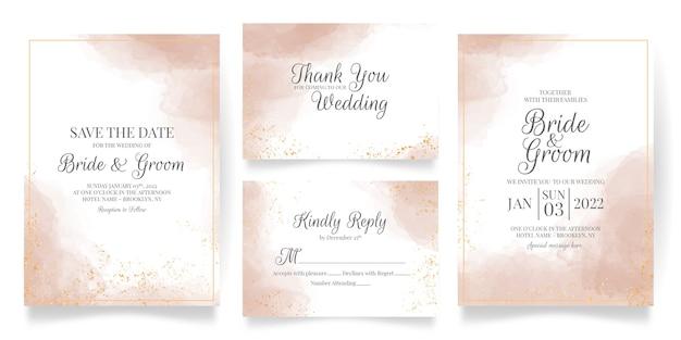 Акварель сливочные свадебные приглашения карты шаблон с абстрактным фоном