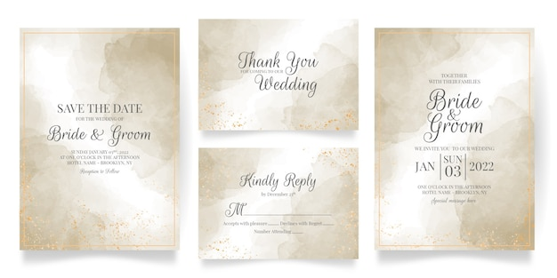 Watercolor creamy wedding invitation card template set with abstract background