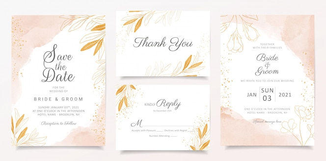 Watercolor creamy wedding invitation card template set with golden floral decoration.