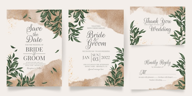 Watercolor creamy wedding invitation card template with golden floral decoration