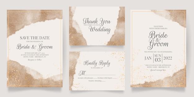 黄金の花の装飾が施された水彩のクリーミーな結婚式の招待カードテンプレート