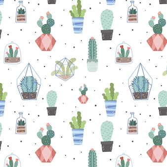 Watercolor creative cactus pattern