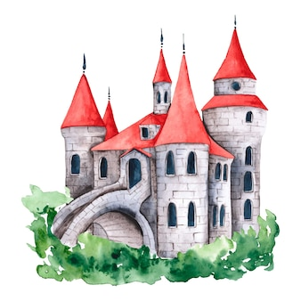 Watercolor creative fairytale castle