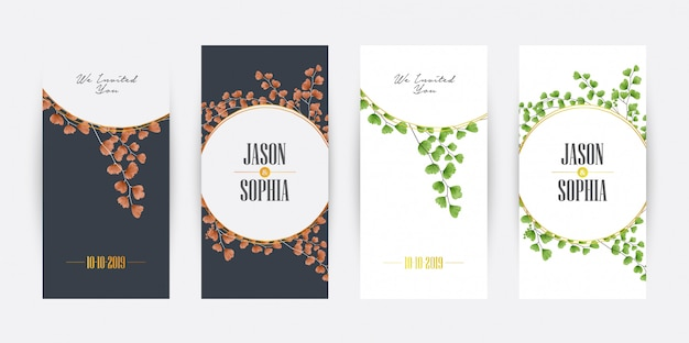 Watercolor creeping fern wedding invitation card template collection