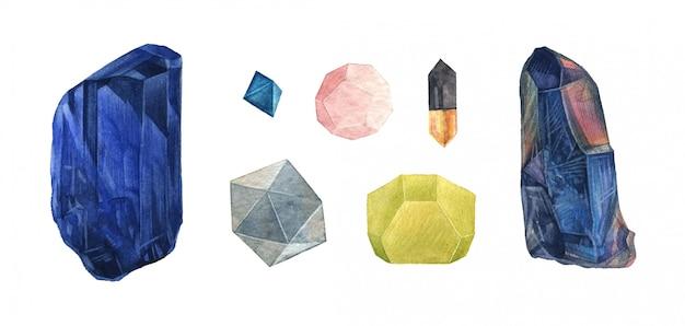 Watercolor crystal gems set