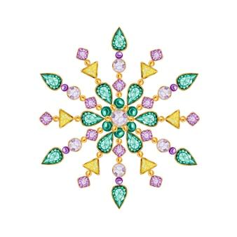 水彩クリスタルスノーフレーク。美しい明るい色のジュエリーメダリオン、ブローチ、首の装飾。ファッションブリリアントストーン、アップリケラインストーン。