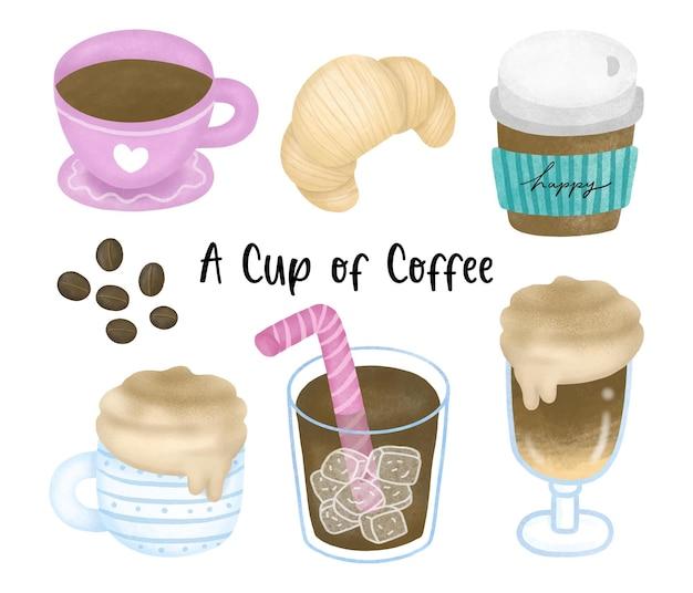커피 원두와 크루아상 아메리카노 라떼 익스프레스 카푸치노가 포함된 수채색 커피 세트