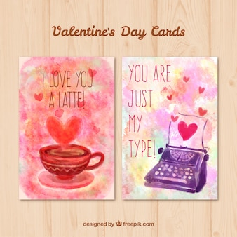 Watercolor cup and typewriter cards