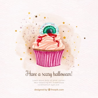 Watercolor cupcake background for halloween with decorative eye