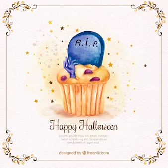 Watercolor cupcake background with tomb and zombie hand