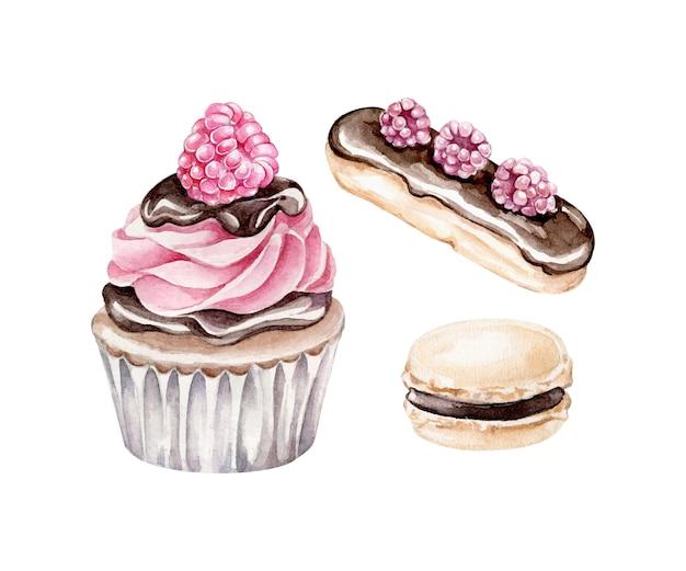 Акварель капкейк, эклер, миндальное печенье изолированы. шоколадные конфеты