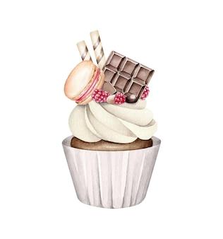 チョコレートと水彩のカップケーキ