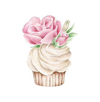 Watercolor cupcake with flower