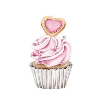 白で隔離のハートのクッキーと水彩のカップケーキ