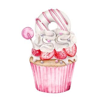 水彩カップケーキ