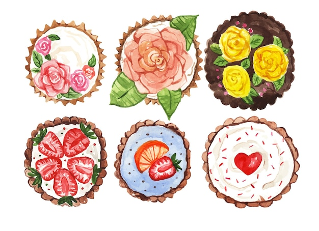 Watercolor cupcakes with decoration top view