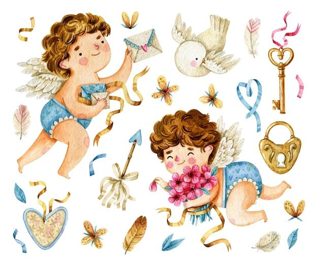 Коллекция акварельных амуров и элементов дня святого валентина