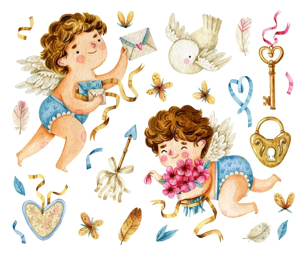 Watercolor cupids and valentines day elements collection