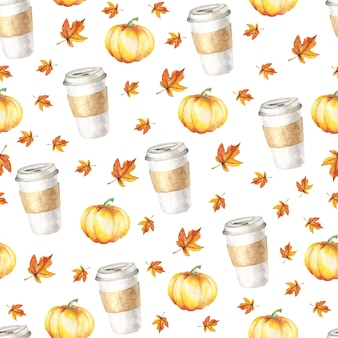 Watercolor cups of coffee and pumpkin watercolor autumn pattern