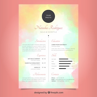 Watercolor curriculum template with colorful style