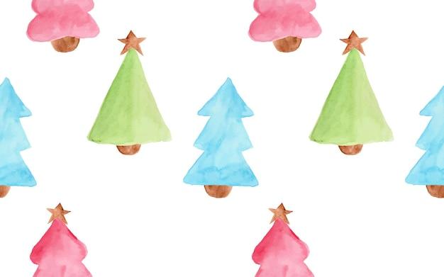 Акварель милая и веселая рождественская елка как бесшовный фон
