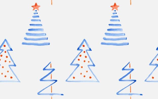 Акварель мило и весело каракули рождественская елка как бесшовный фон