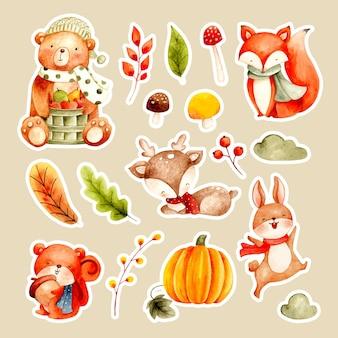 水彩のかわいい動物と紅葉のステッカー