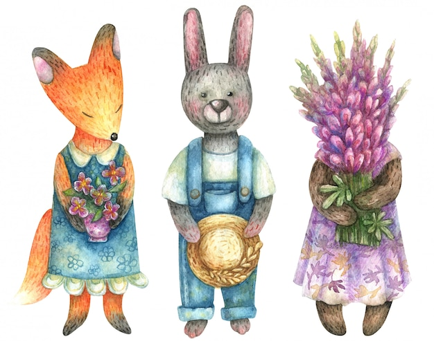 Watercolor cute animal farmers (fox, hare, bear). they are holding bunches of flowers in bunches.