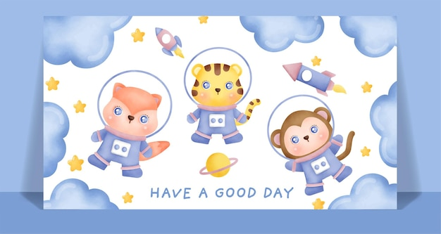 Watercolor cute animals in the space card.