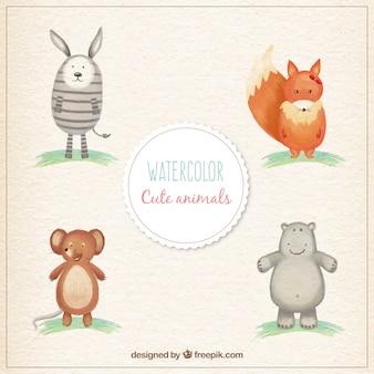Watercolor cute animals