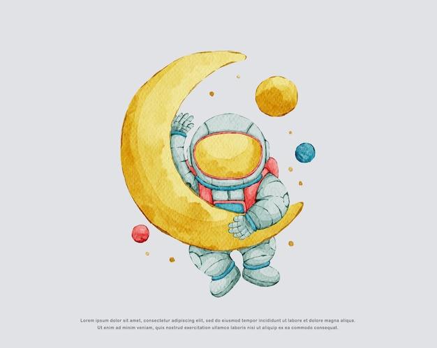 수채화 귀여운 우주 비행사 그림