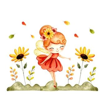 花と水彩のかわいい秋の妖精