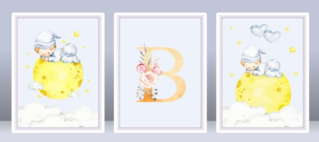 Watercolor cute baby boy set