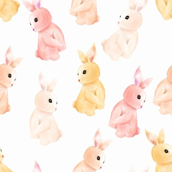Watercolor cute baby bunny rabbit seamless pattern wallpaper