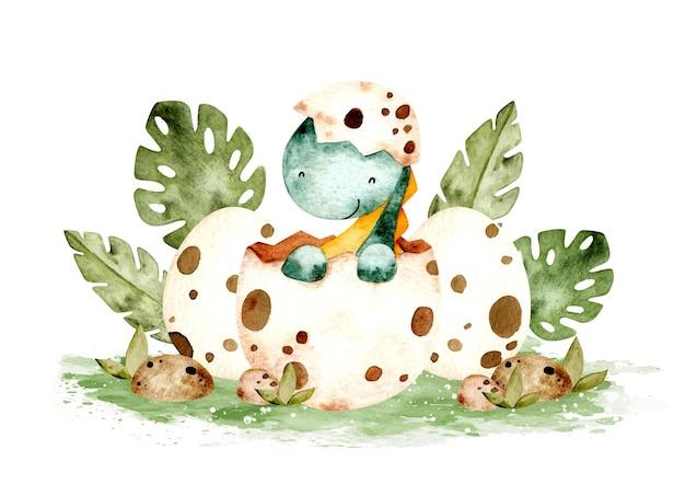 Watercolor cute baby dinosaur