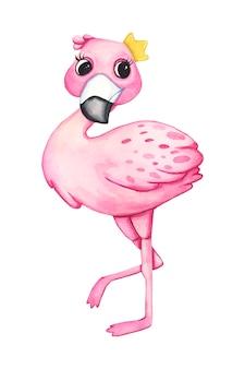 Watercolor cute baby flamingo.