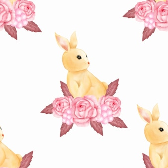 Watercolor cute baby pink bunny rabbit seamless pattern wallpaper