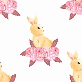 水彩かわいい赤ちゃんピンクバニーウサギのシームレスなパターンの壁紙