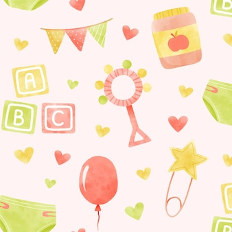 Watercolor cute baby shower colorful pattern