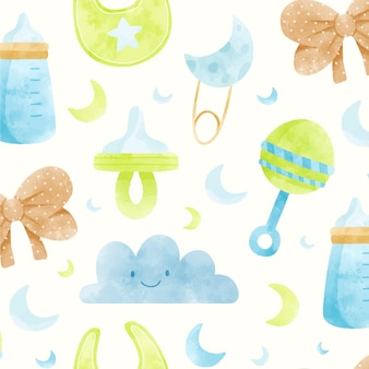 Watercolor cute baby shower items pattern