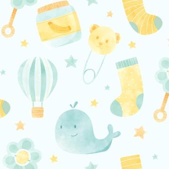 Watercolor cute baby shower pattern