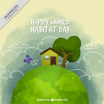 Watercolor cute background of house and vegetation for world habitat day