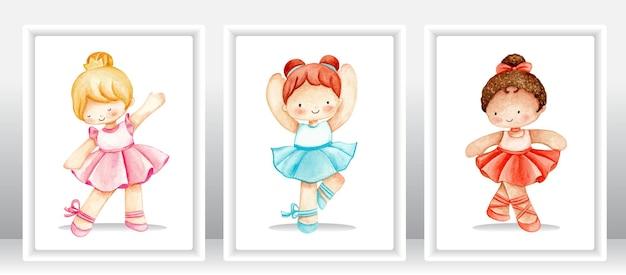 Watercolor cute ballerina set