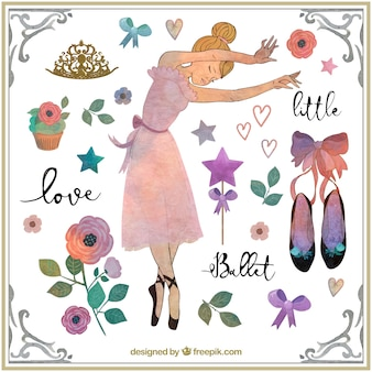 Watercolor cute ballerina with lovely accessories