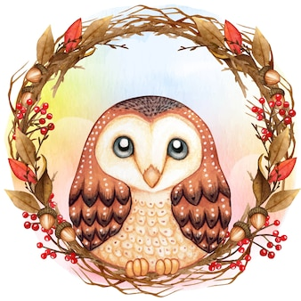 Watercolor cute barn owl on a winter twig wreath in a rainbow background
